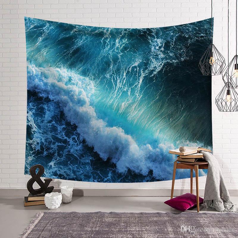 Ondas de vento azul tapeçaria pinturas estilo boêmio tecido têxtil de decoração de casa parede pendurado esteira de praia