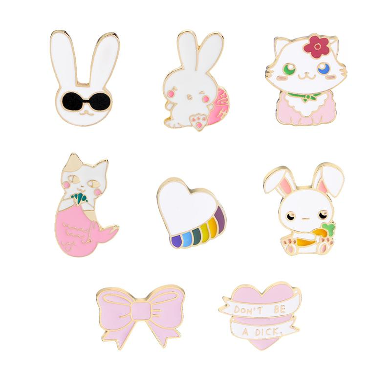 Fashion Cartoon Creative Cute Rabbit Cat Pins and Brooches for Women Bowknot Pink Heart Don't Be a Dick Brooch Badge Enamel Pin
