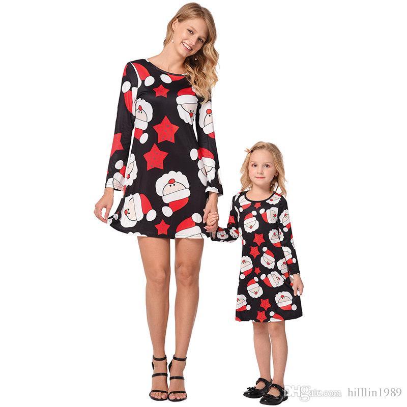 Christmas Parent-child Matching Outfit Long Sleeve Xmas Cartoon Santa Claus Printed Crew Neck Casual Mini Dress
