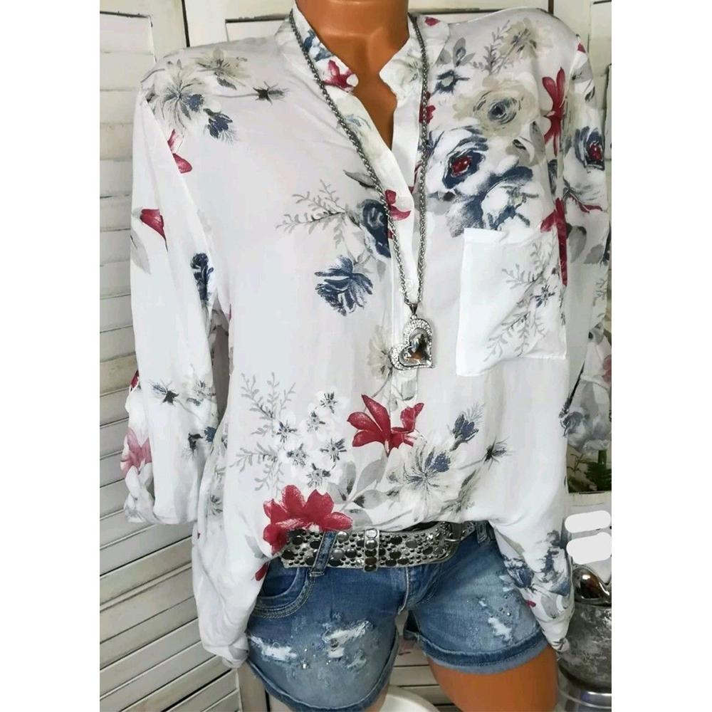 5XL Artı Boyutu Üstleri Çiçek Baskılı V Boyun Uzun Kollu Bayan Üstleri Ve Bluzlar Yaz Sonbahar Cepler Düğmeler Gömlek Blusa Bayanlar D18103104