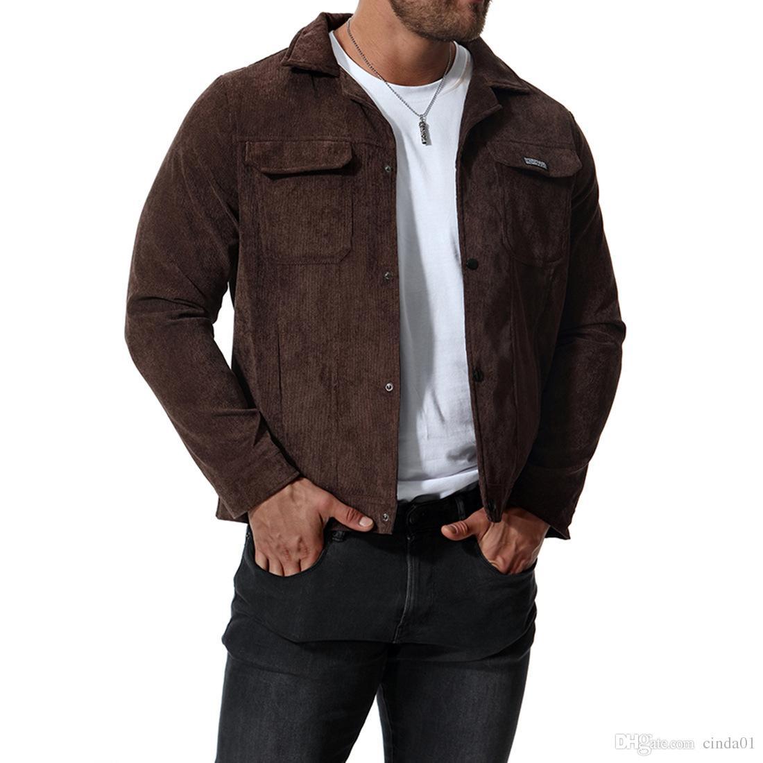 Chaqueta de pana para hombre gruesas casuales abrigos de color sólido Masculinas chaquetas de longitud corta de primavera otoño prendas de vestir exteriores