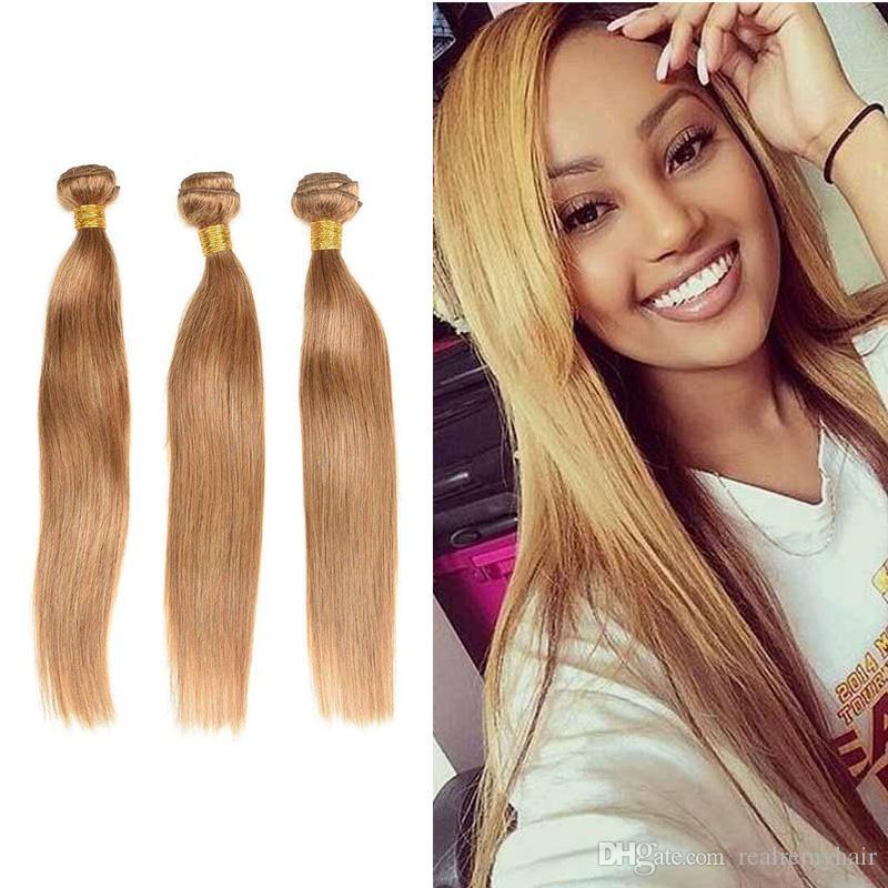 Top Selling Peruvian Virgin Hair Weave Bundles Color 27 Honey Blonde Peruvian Malaysian Brazilian Silky Straight Human Hair Extensions Curly Weave