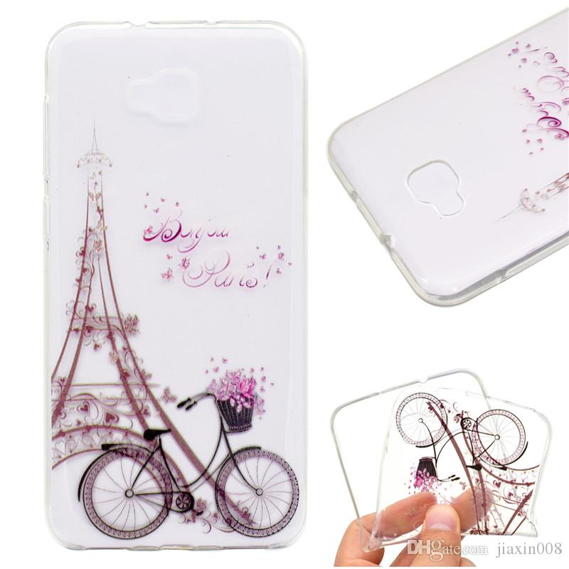Transparent TPU Cover For Asus Zenfone 4 Max ZC520KL/Pro ZS551KL/Selfie ZD553KL Case Colour decoration Tower bike Butterfly Girl Design Case