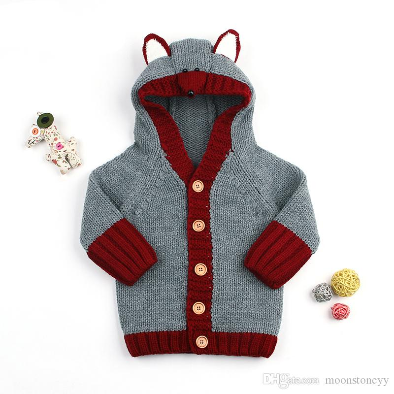 Winter Newborn Boys Sweaters Cardigans Clothes Cute Fox Knitted Baby Girls Knitwear Coats Grey Hooded Infant Jackets Long Sleeve