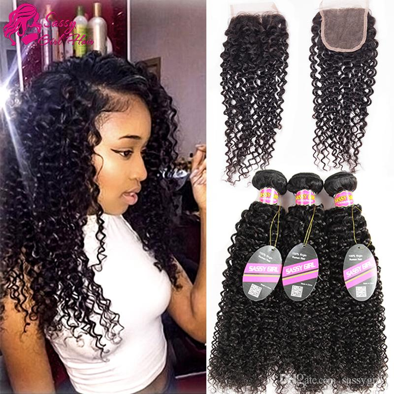 Mongolian Remy Human Hair Closure With Mongolian Deep Curly Hair Bundles Virgin Hair Lace Closure Natural Color Kinky Curly