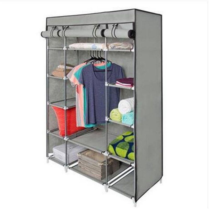 5-Layer Portable Closet Storage Organizer Wardrobe Clothes Rack With Shelves
