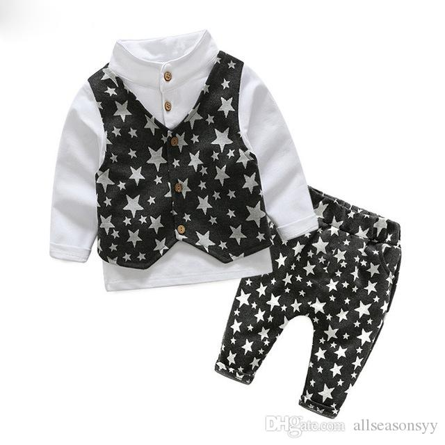 2017 весна мальчик джентльмен костюм рубашка + комбинезоны 2 шт. с длинным рукавом футболки мальчиков брюки детская одежда Детская одежда набор