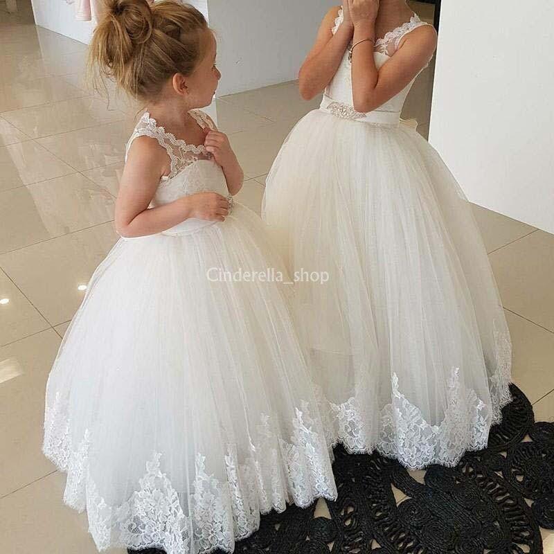 Compre Lindos Vestidos De Niña De Flores En Blanco Para Bodas 2019 Jewel Lace Top Vestido De Fiesta Con Espalda Abierta Largo Vestido De Primera