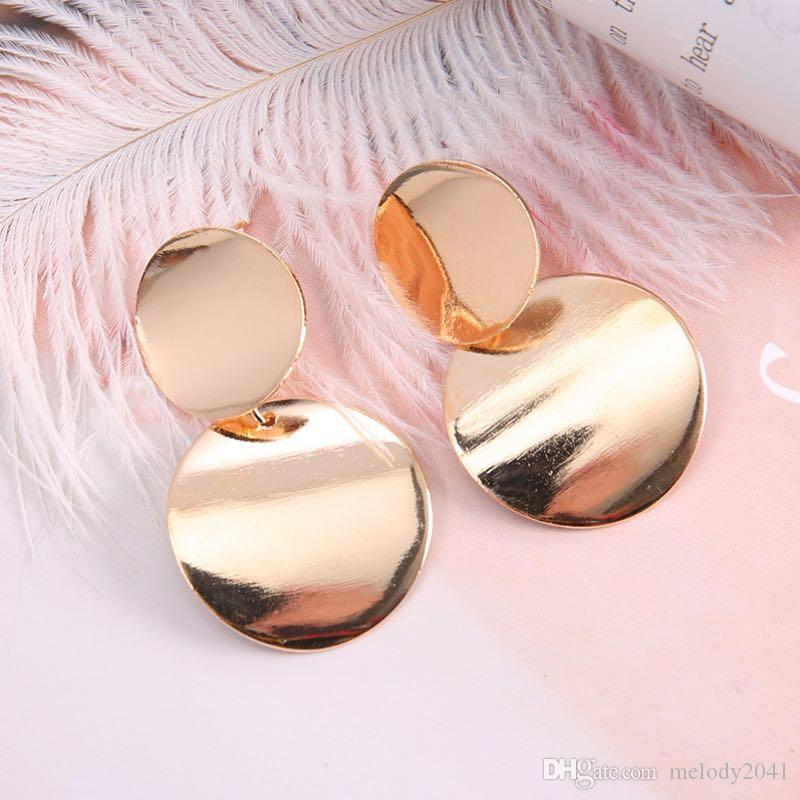 Simple Design Retro Metal Disc Stud Metal Geometric Circles Earrings Gold And Silver Popular Long Earrings Wholesale