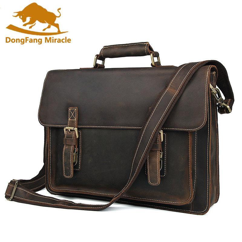 Capa superior de cuero bolsa de mensajero de la alta calidad de las carteras del negocio caballo loco Bolso Nueva Bolsa de hombro para los hombres