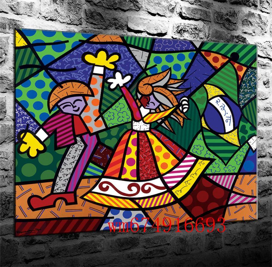 Couleurs du Brésil Romero Britto, Pièces de Toile Décor à la Maison Imprimé Art moderne, Peinture sur Toile (Sans cadre / encadré)