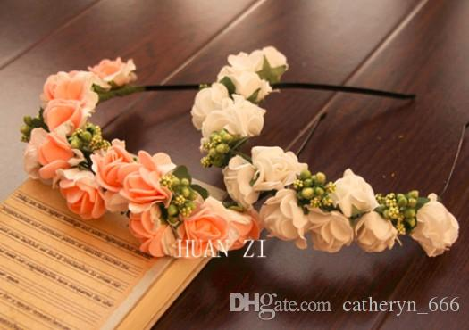 Boho Flower Crown Hair Wreath Halo Floral Garland Headband Headpiece with Ribbon Wedding Girl Wrist Band Hair Accessories Ceremony Party