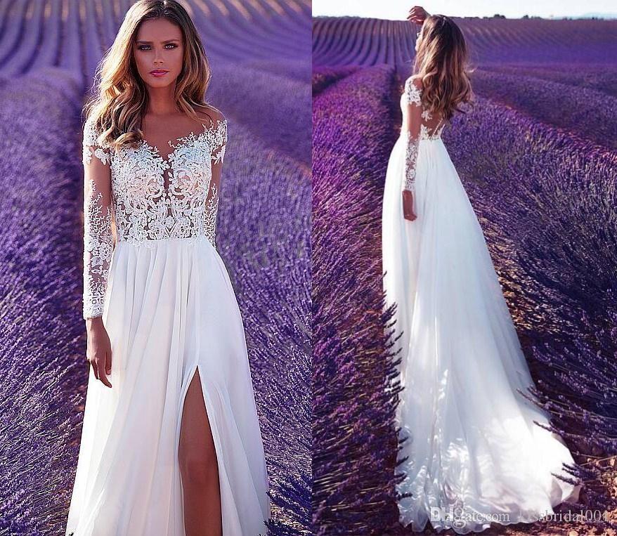 Laço do vintage vestidos de casamento da praia do verão boho dividida frente mangas compridas sheer illusion vestidos de noiva chiffon vestido de recepção do casamento