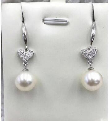 Freier Verschiffen-Großhandelspreis ^^^ Neuer 9-10mm weißer natürlicher Perlenohrring Heart-shaped 925silver