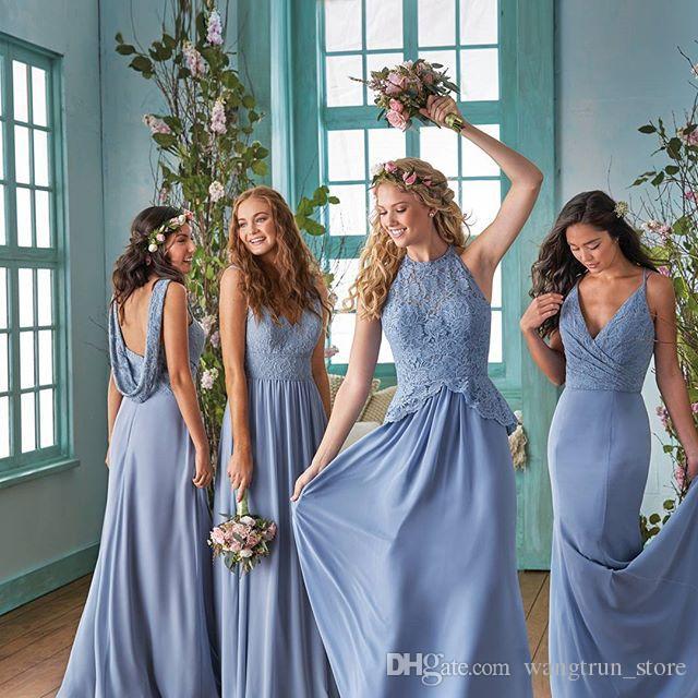 Elegant Long Chiffon Country Bridesmaid Dresses 2019 Deep V Neck Lace Bodice Mermaid Maid Of Honor Dresses