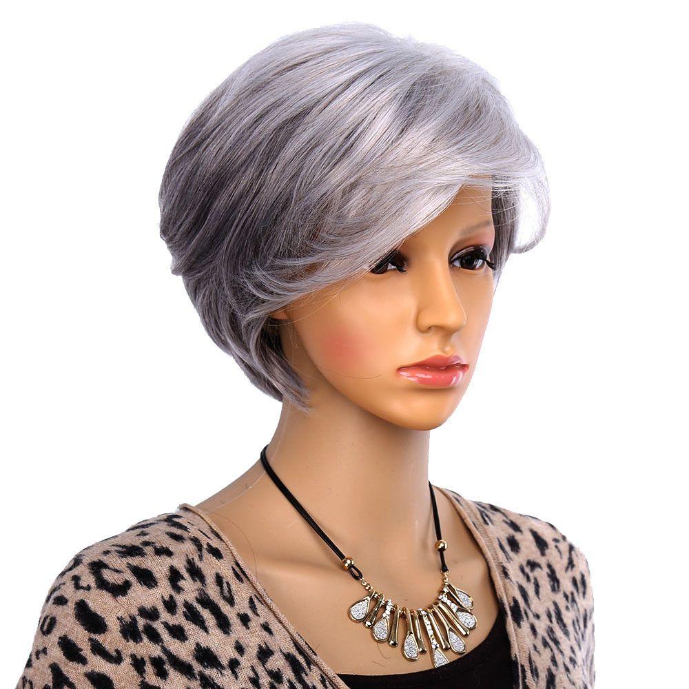 패션 Beautful 여성 늙은 여자를위한 짧은 가발 합성 회색 머리 직선 스타일 Olded 가발 코스프레