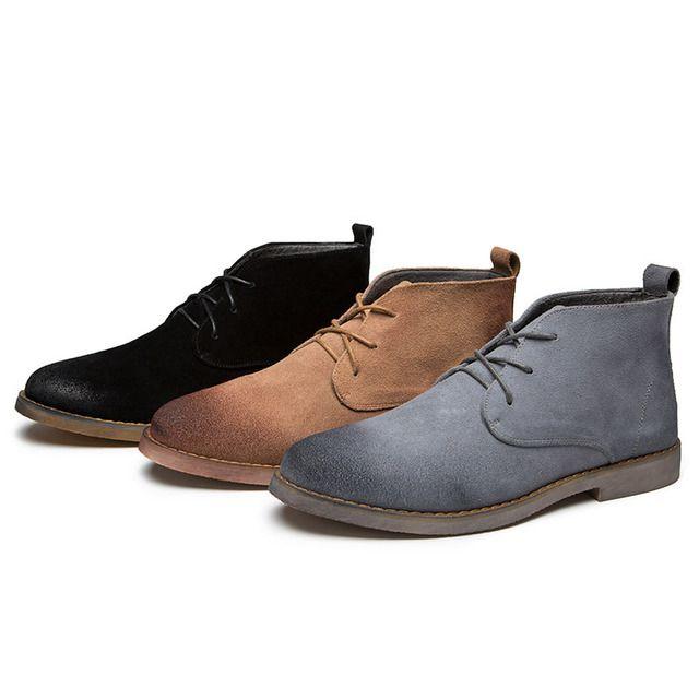Scarpe di cuoio genuino di marca del progettista scarpe casuali Appartamenti stivali per gli uomini Stivaletti di cuoio genuini Outdoot Q-432