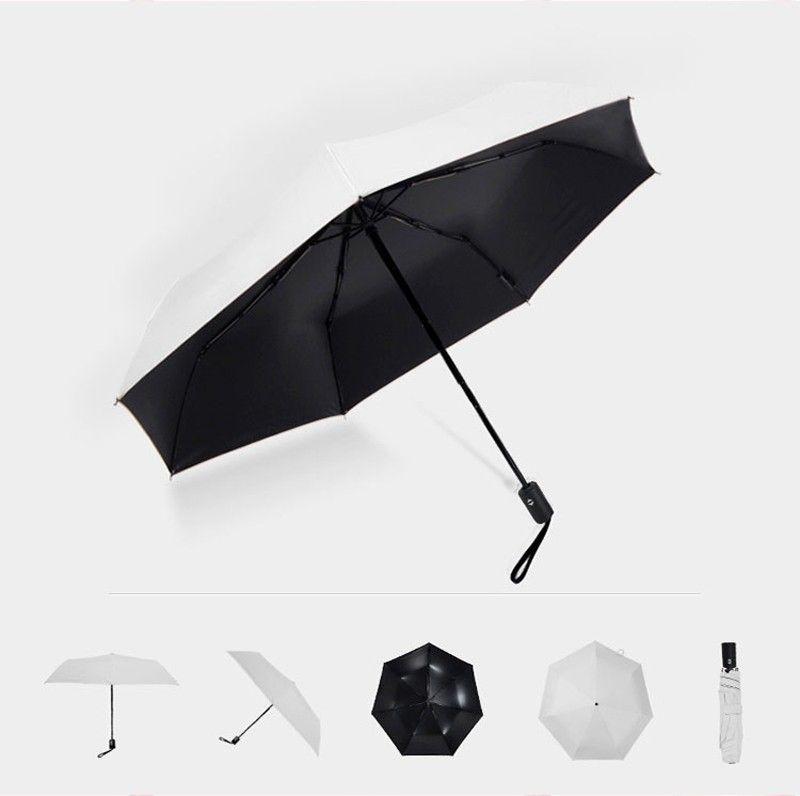 Fashion White Auto Open Auto Close Umbrella Rain Women Men 3 Folding Automatic Umbrella Black Coating Sun Umbrella17