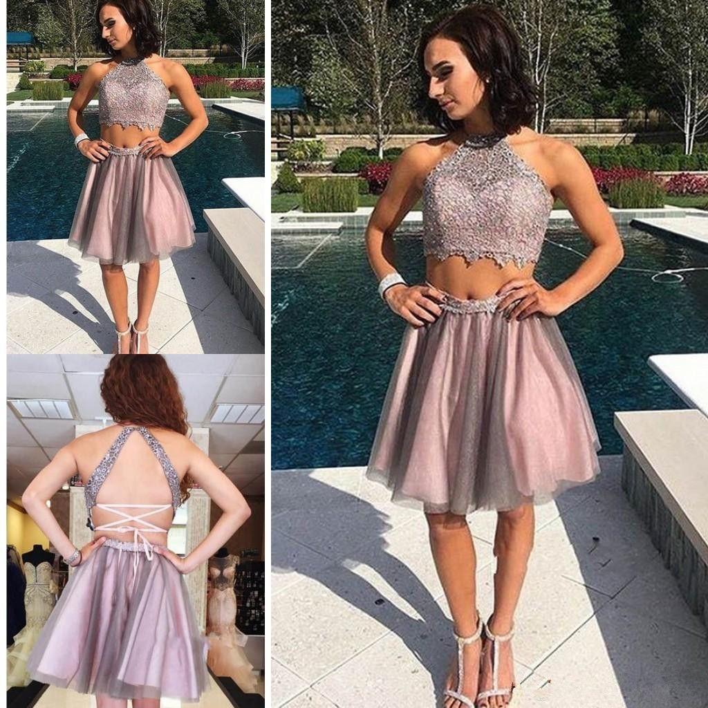 2019 el más nuevo de cuello halter Tulle Homecoming Vestidos de dos piezas Mini corto 8vo grado de graduación vestidos de fiesta dulce 16 vestidos Vestido