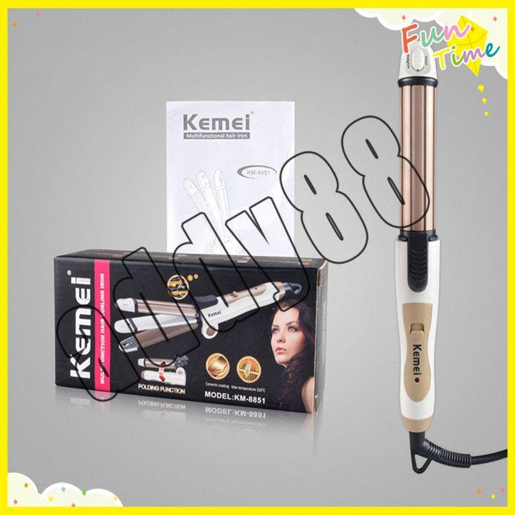 Kemei 3 en 1 cheveux friser pliable défriser les cheveux lisseur multifonctions ondulé plaque de maïs en fer