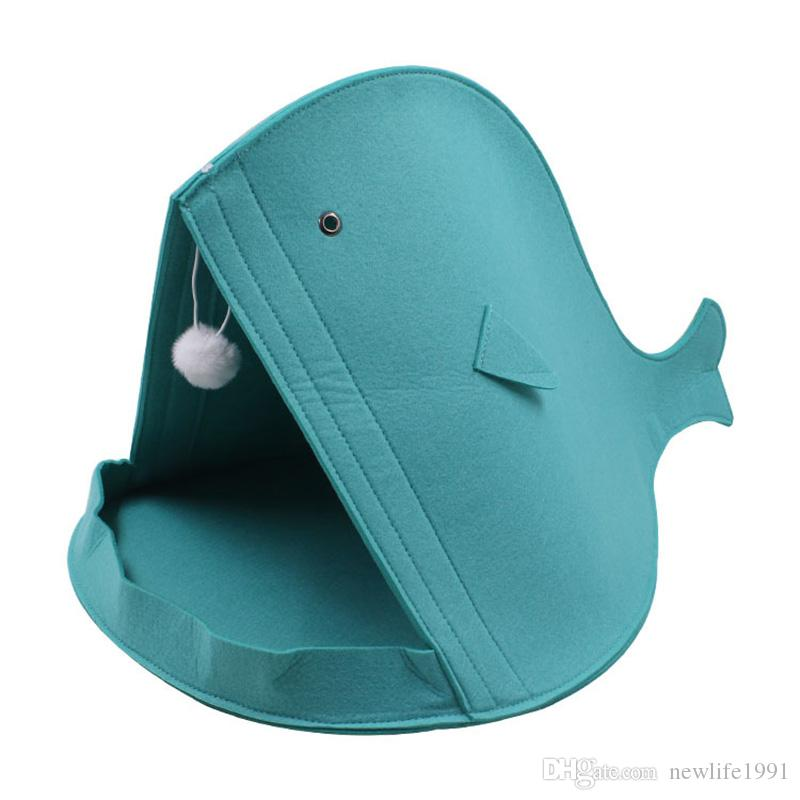 Felt Pet Puppy House Cat Dog Shark Style Kennel Collapsible Warm Home Pets Cute Funny Houses Nest Free Ship