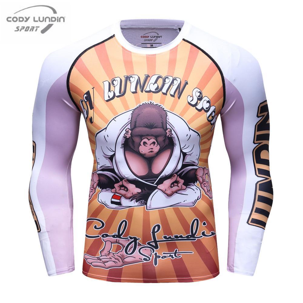 Сжатие рубашки слой мужской основной длинным рукавом Panda 3D тепловой печати под MMA Rashguard колготки кожи человек футболка Коди Лундин