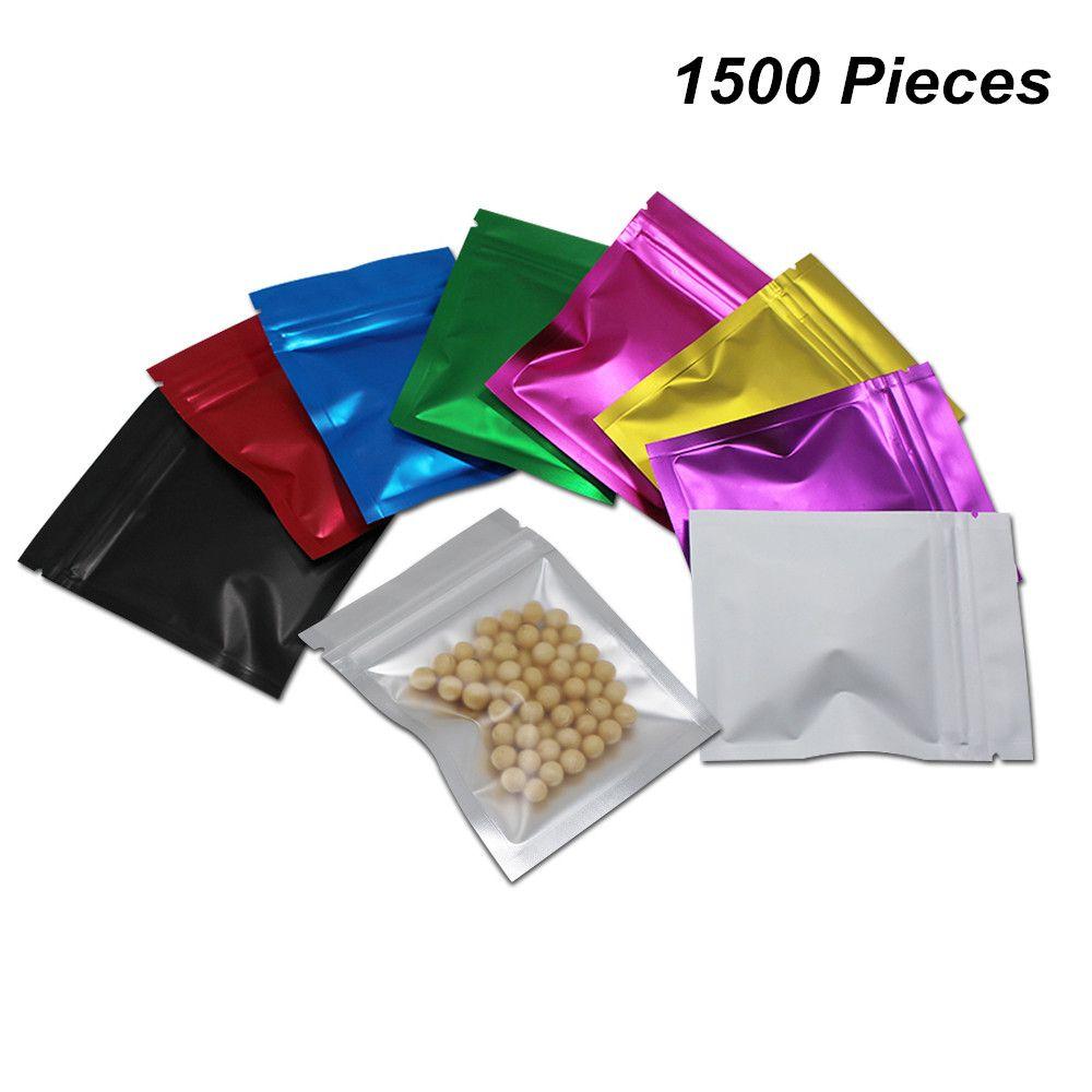 10 cores 7.5x10 cm 1500 peças Reclosable Mylar Foil cheirar à prova de rasgões Food Storage Bag Entalhes Alumínio Zipper embalagem saco para Nut
