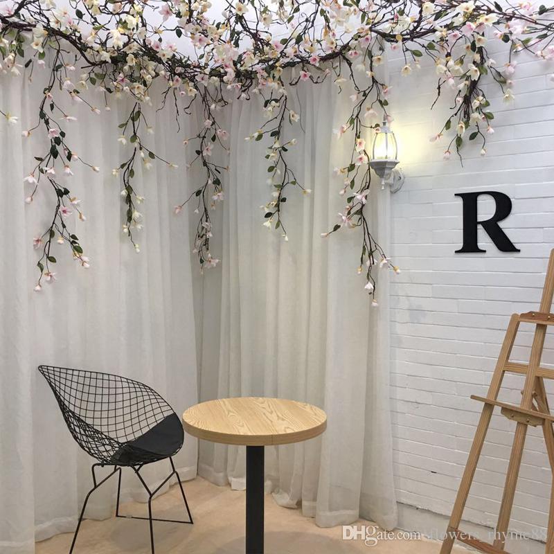 As flores de seda artificial videira ramo magnólia artificial haste longa arbitrária dobrável nova falso seda flor Rattan TV decoração da parede de casamento