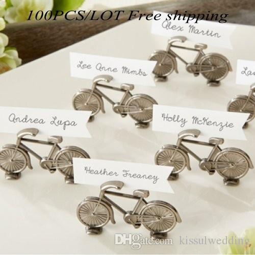 """(100Pcs/lot) Perfect Wedding and Party Decoration Favor of """"Le Tour"""" Bicycle Place Card Photo Holder For Antique Wedding Favor"""