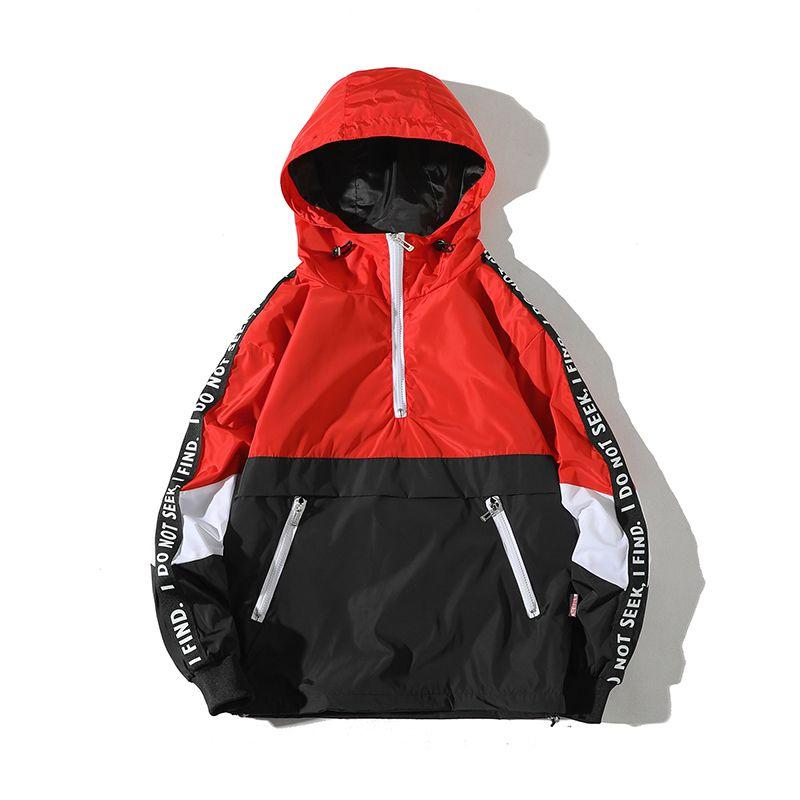 2018 Spring Casual Kangaroo Pocket Zipper Hat Loose Letter Coat Leisure Male Jacket Clothes Student Sweatshirts Men Hoodies