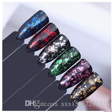 Galaxy Holographic Nail Glitter 1 Boîte Laser Holo Nail Sequins Paillettes Poudre Nail Poudre Paillettes 0.2g En Option