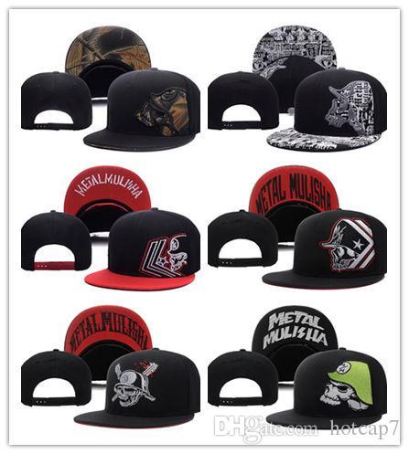 Оптовая новый металл Мужская партия дальнобойщик Snapback шляпа черный прохладный спортивные шапки шапки новые мужчины мода регулируемая Snapbacks Cap Hat