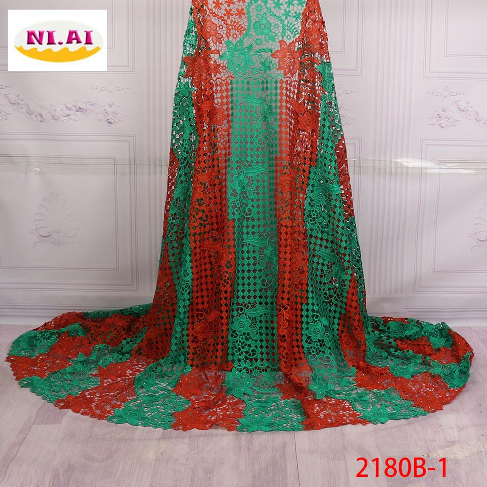 2018 High Quality Nigerian Stones Guipure Laces Material African Lace Fabric Cord Lace Fabric For Wedding Party Dress XY2180B-1