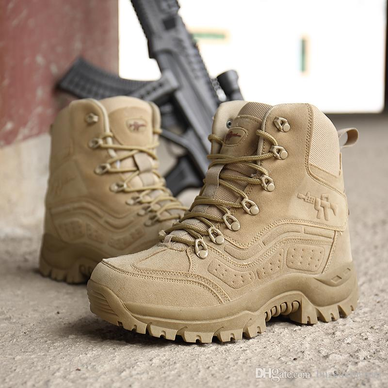 Mens Leather Boots New Winter Army Military Ankle Lace Hiking Boots Shoes Size