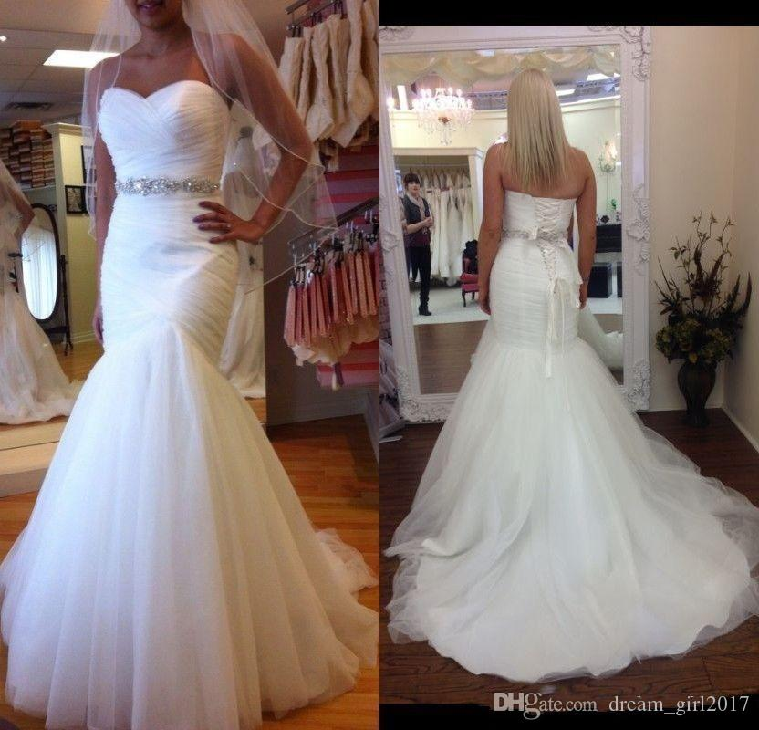 2019 Sweetheart Mermaid Wedding Dresses Pleated Tulle Bridal Gowns Simple White Ivory Wedding Gowns Custom Made