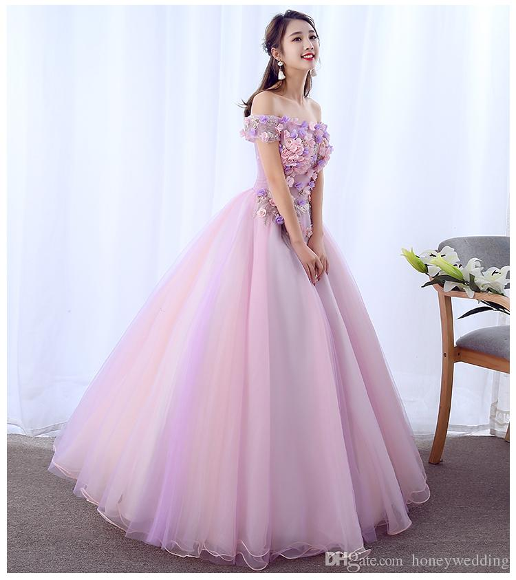 8b383da2e8c Pink Quinceanera Dresses 2018 Debutante Masquerade Prom Dress Ball Gown Off  Shoulder Flowers Sweet 16 Girls Party Dress Real Photo Brides Dresses 2015  ...