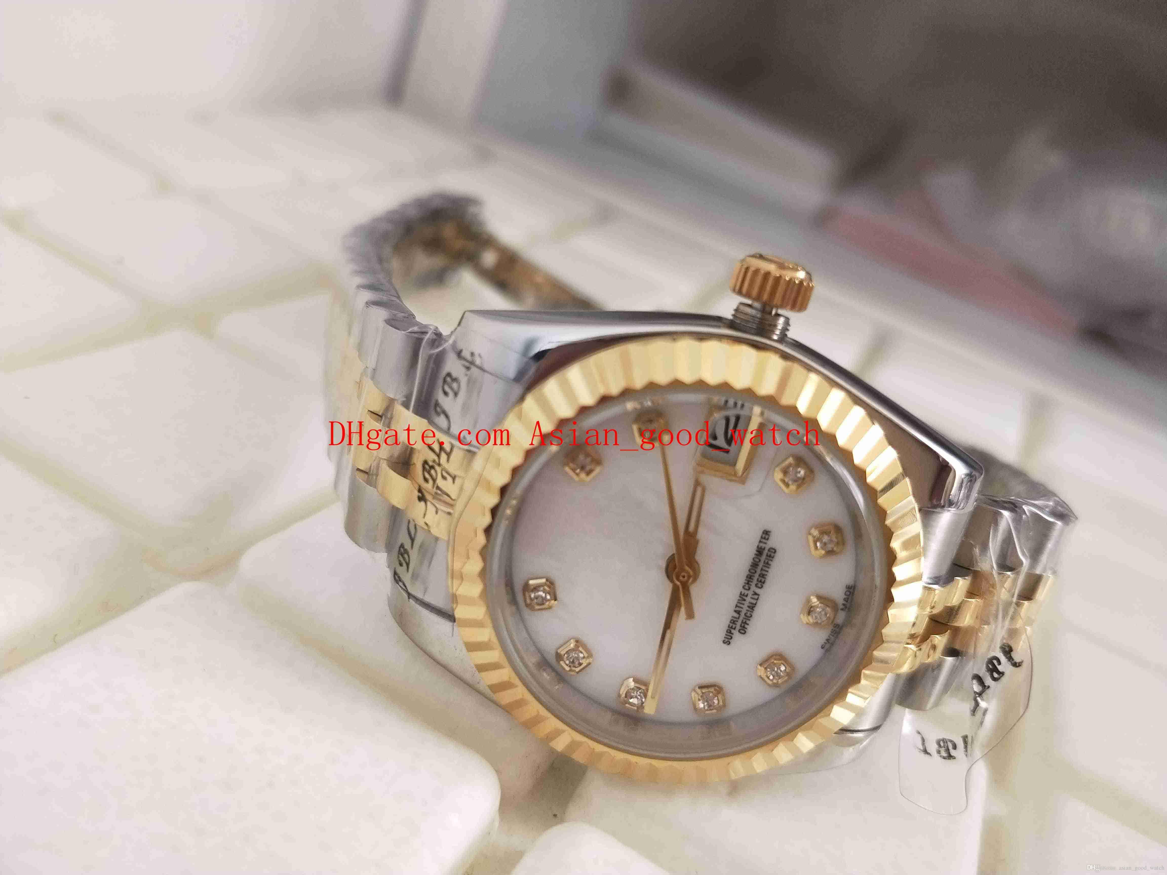 Envío gratis Moda para mujer wantch 36 MM 18 K oro amarillo 178384 Fecha de marcación blanca Reloj de mujer de zafiro de cristal en dos tonos de oro automático
