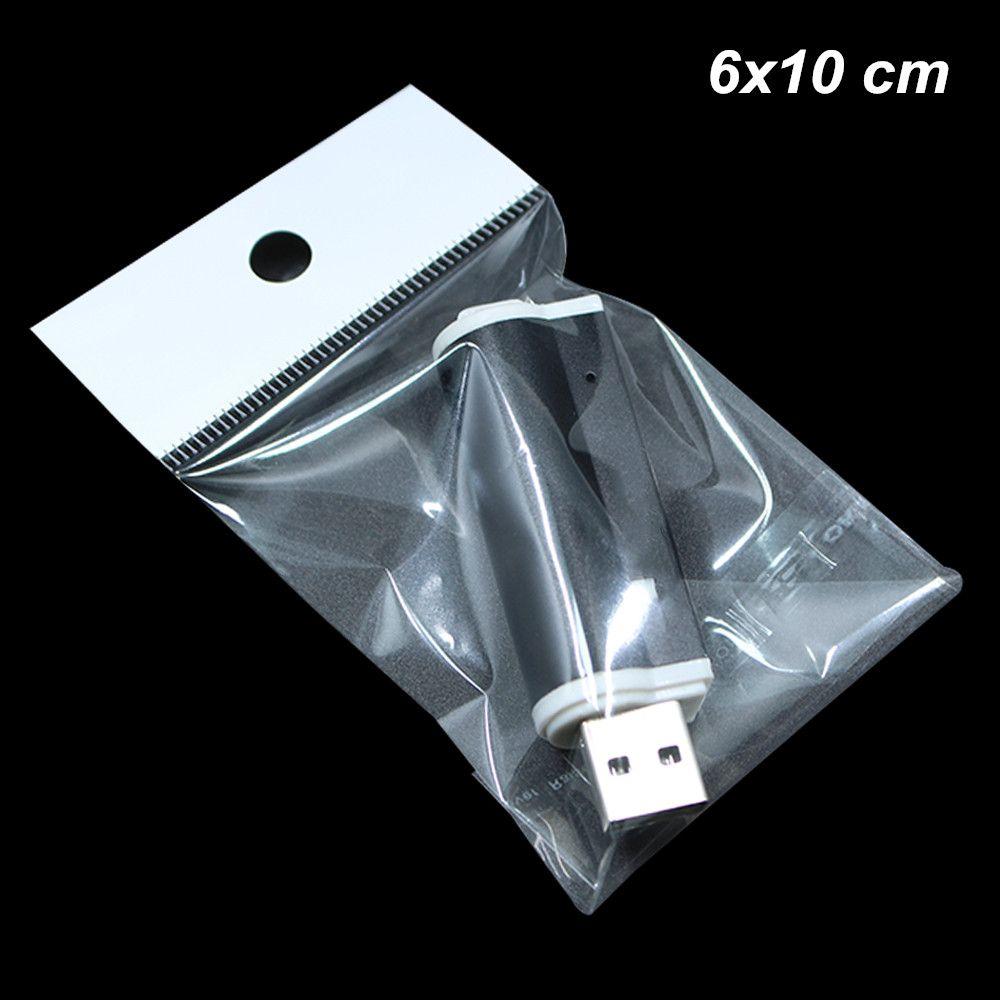 500 pezzi 6x10 cm Clear Self Seal OPP Componenti digitali Custodia per stoccaggio con gancio Hole Gioielli autoadesivi Accessori per bracciali Borse