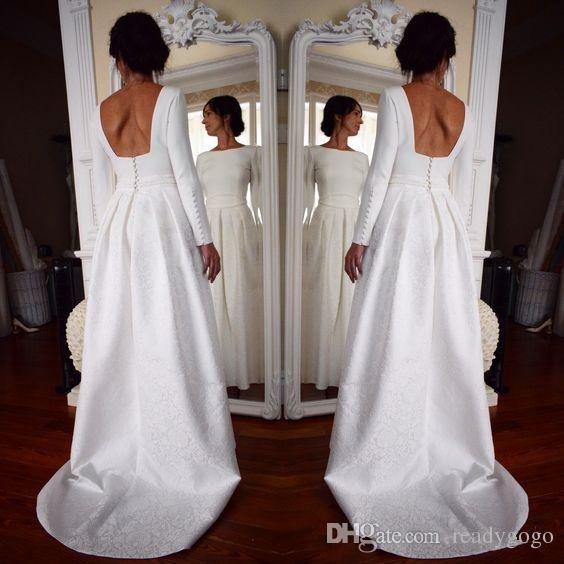 Винтажные кружевные свадебные платья 2019 Bateau Throad Willeves Backblob Sweep поезда сад свадебные платья халат де мал