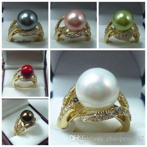 Anillo de la joyería de la perla de Shell del mar del sur de la manera 12mm 6 6 8 9 k04