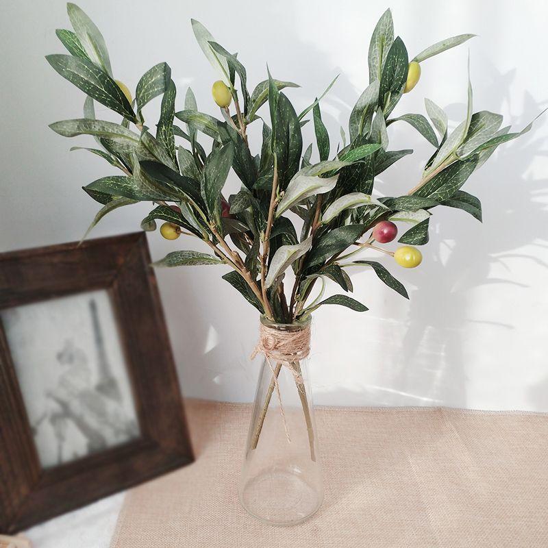 الأخضر فرع الزيتون الاصطناعي محاكاة نبات الزيتون ورقة الزفاف الديكور المنزل وهمية زهرة زينة عيد الميلاد