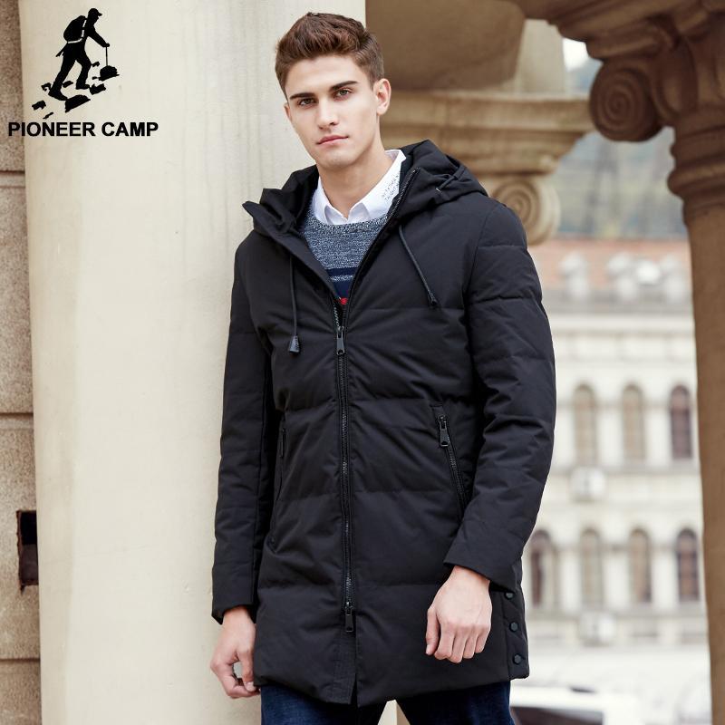 Пионерский лагерь новое прибытие длинная зима утка пуховик мужчины высокое качество Марка мужчины толстый теплый вниз пальто мода мужской парки 611636 L18101102