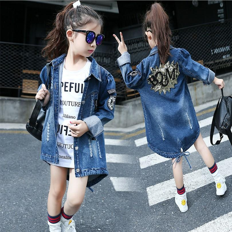 2016 New autumn Girl Coat Print denim Button Trench children Jacket long Sleeve Toddler kids girl outwear for 9 10 11 13 years
