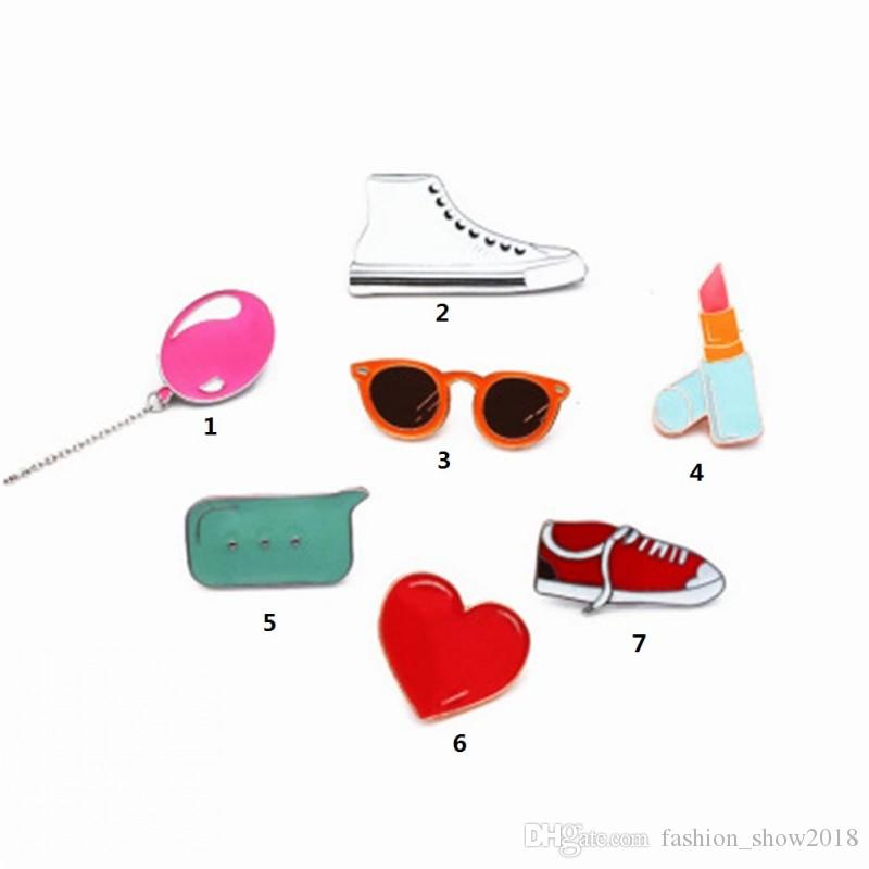 Fashion Cute love balloon lipstick shoes brooch For Women cloth creative badges Fresh pin T-shirt Coat Jerwelry