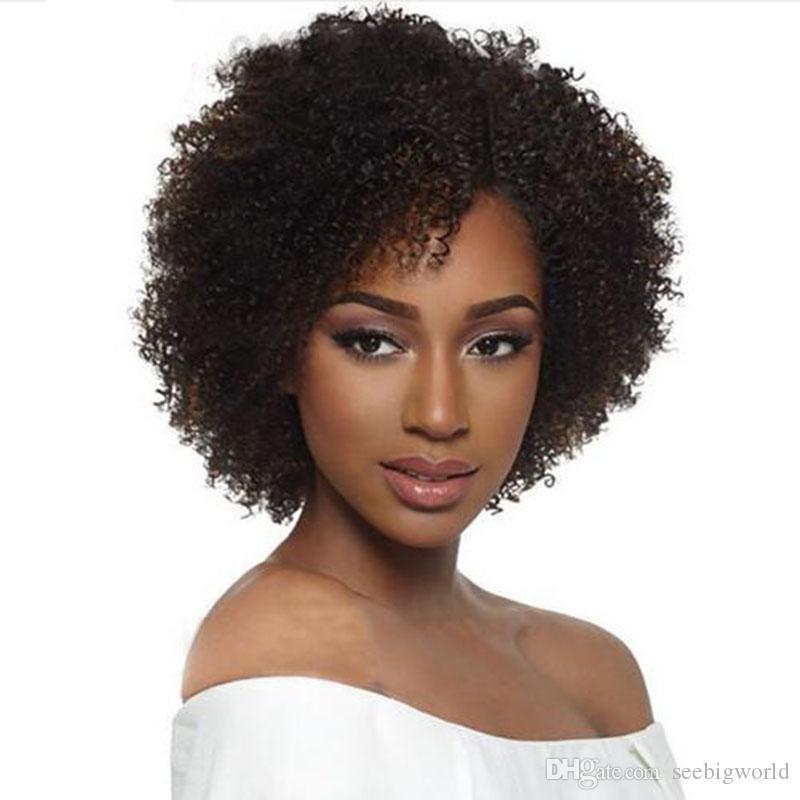 Mode brésilienne cheveux américa africaine courte bouclés perruque simulation cheveux humains court bob afro kinky bouclés noir perruque