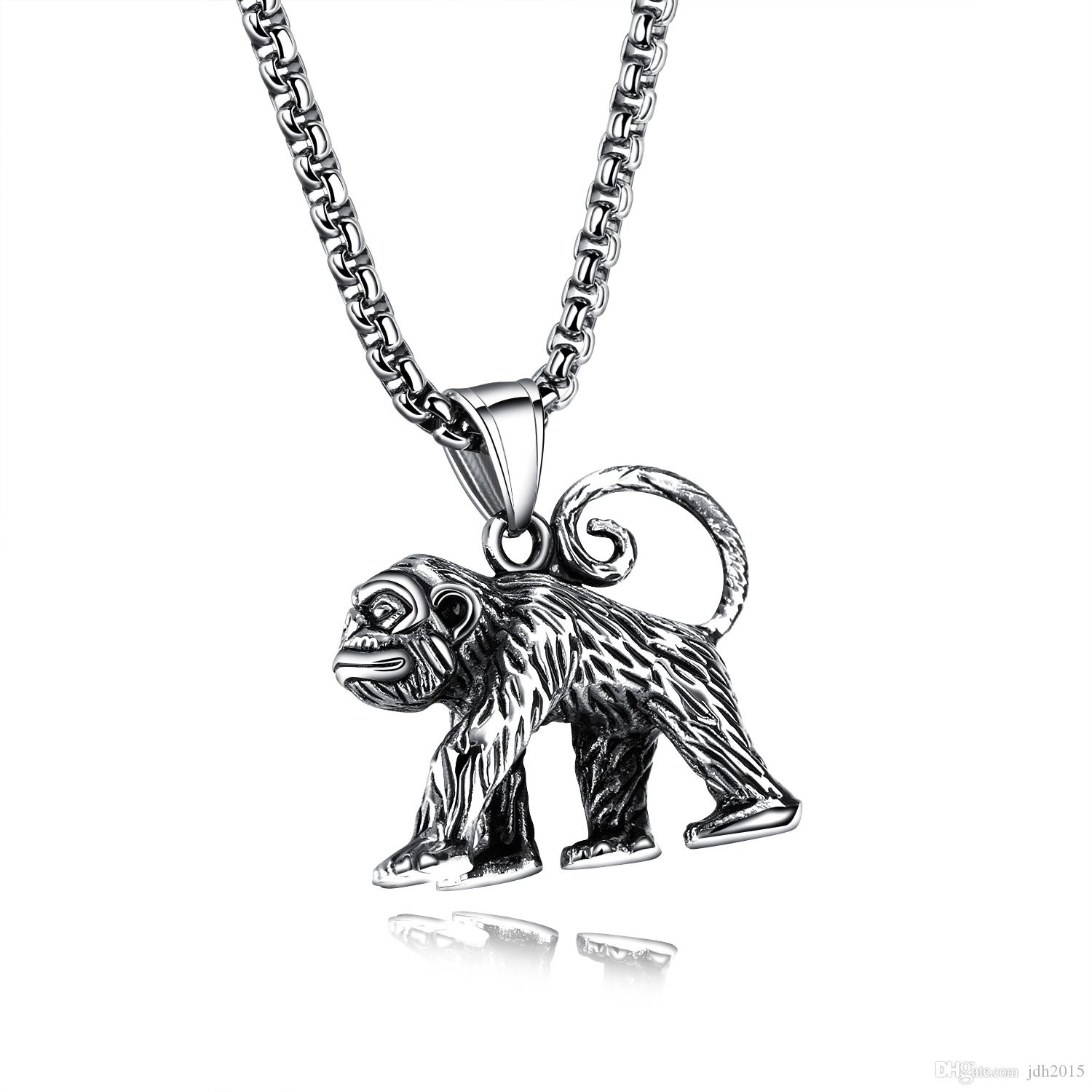 Tribal Men Stainless Steel Smart Orangutan Monkey Pendant Necklace