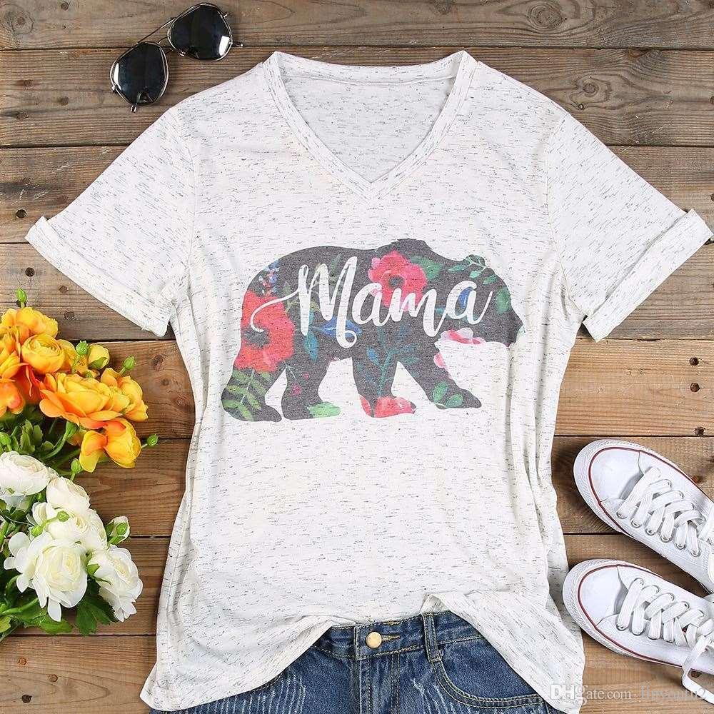 بالاضافة الى حجم قميص T النساء V عنق قصير الأكمام الصيف الزهور ماما الدب تي شيرت عارضة أنثى المحملة السيدات بلايز 3XL قطرة الشحن