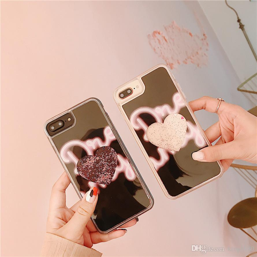 Waterfall Liquid 3D Glitter Quicksand Dazzling Heart Movable Falling Flowing Bling Sparkles Case for iPhone X 6/7/8 plus