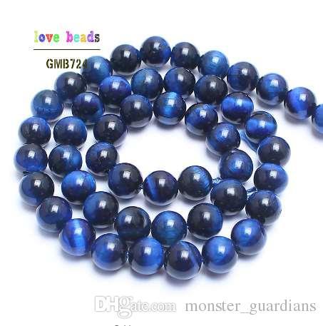 A + + Doğal Taş Boncuk Mavi Kaplan Gözü Yuvarlak Boncuk Takı Yapımı Için 15 inç Pick Boyutu 6.8.10.12mm Yapma Bracelet-F00125