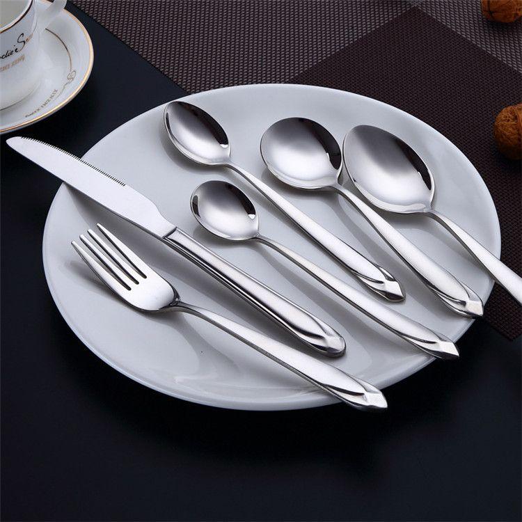 Fancy Acero inoxidable Vajilla Cubiertos Diamante Diseño Mango Plata Brillante Eco Cubiertos Comercio al por mayor de cocina occidental vajilla